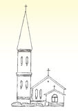 Sketch of church and spire. Sketch of church with tall spire or steeple, light background Royalty Free Stock Images
