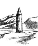 Sketch of Church tower of Graun in the Reschensee Royalty Free Stock Photo