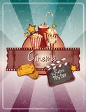 Sketch cinema poster. Colored cinema retro poster with popcorn drink cinema strip tickets doodle elements vector illustration Royalty Free Stock Image