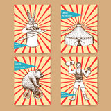 Sketch circus posters in vintage style. Tent, rabbit, strongman, bear vector illustration