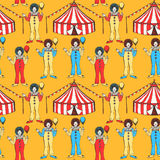 Sketch circus tent and clawn Stock Photography