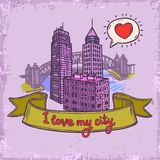 Sketch city background Royalty Free Stock Photo