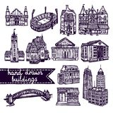 Sketch city building set Stock Photo