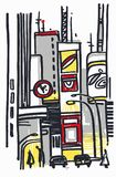 Sketch city downtown. Industrial megalopolis with a heap of gray houses, cars, on weekday royalty free illustration