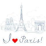 Sketch of the city, Paris Royalty Free Stock Photos
