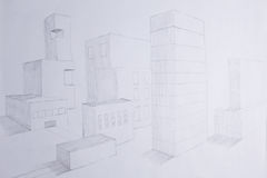 Sketch of the city in perspective Stock Photography