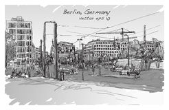 Sketch city scape of Berlin street with building and peoples. Walk along the road, free hand draw illustration vector Stock Photos