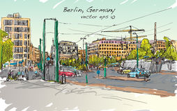 Sketch city scape of Berlin street with building and peoples. Walk along the road, free hand draw illustration vector Stock Image