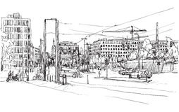 Sketch city scape of Berlin street with building and peoples  Stock Image