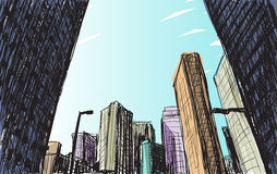 Sketch city scape building in Tokyo hand draw illustration  Royalty Free Stock Photography