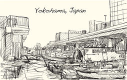 Sketch city scape of Japan, Yokohama port free hand draw illustr. Ation Vector Stock Photo