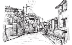 Sketch city scape of local village in Yokohama Japan, free hand. Sketch city scape of local village in Yokohama Japan, illustration vector Stock Photo