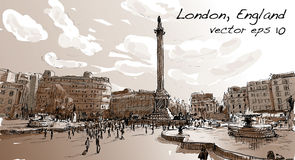 Sketch city scape in London England shop monument, peoples. Walk on public space in Sepia tone, illustration vector Royalty Free Stock Images