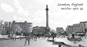 Sketch city scape in London England shop monunent, peoples walk. On public space, illustration vector Royalty Free Stock Photos