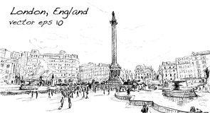 Sketch city scape in London England shop monunent, peoples walk. On public space, illustration vector Royalty Free Stock Photo