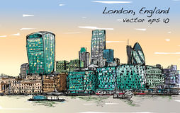 Sketch city scape in London England show skyline and building be. Side thames river, illustration vector Royalty Free Stock Images