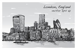 Sketch city scape in London England show skyline and building be. Side thames river, illustration vector Stock Images