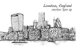 Sketch city scape in London England show skyline and building be. Side thames river, illustration vector Royalty Free Stock Photo