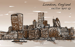 Sketch city scape in London England show skyline and building  Royalty Free Stock Photos