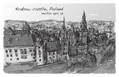 Sketch city scape Poland Krakow castle towers, free hand draw  Royalty Free Stock Photo
