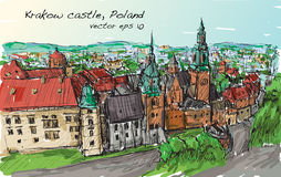 Sketch city scape Poland Krakow castle towers, free hand draw. Illustration vector Stock Photo