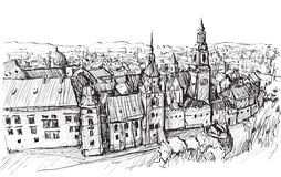 Sketch city scape Poland Krakow castle towers, free hand draw. Illustration vector Stock Images