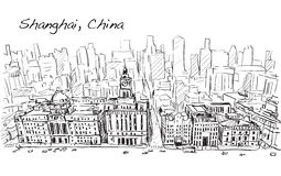 Sketch city scape of Shanghai, China, the building in downtown,. Free hand draw illustration vector Stock Image