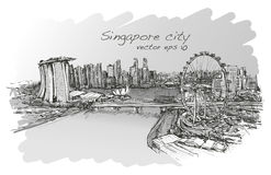 Sketch city scape,of Singapore skyline, free hand draw. Illustration vector Royalty Free Stock Image