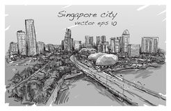 Sketch city scape of Singapore skyline, free hand draw. Illustration vector Stock Photo
