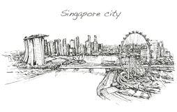 Sketch city scape,of Singapore skyline, free hand draw  Royalty Free Stock Photos