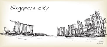 Sketch city scape of Singapore skyline with Marina bay and build. Ing landscape, free hand draw illustration vector Stock Image