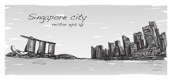 Sketch city scape of Singapore skyline with Marina bay. And building landscape, free hand draw illustration vector Royalty Free Stock Image