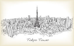 Sketch of city scape Tokyo Tower with building skyline,. Free hand draw illustration vector Royalty Free Stock Images