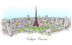 Sketch of city scape Tokyo Tower with building skyline,. Free hand draw illustration vector Stock Image