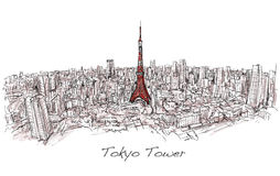 Sketch of city scape Tokyo Tower with building skyline,. Free hand draw illustration vector Stock Photo