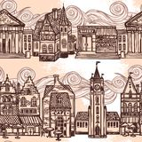 Sketch city seamless border black and white Royalty Free Stock Photography