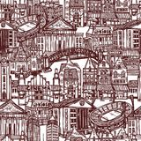 Sketch city seamless pattern Royalty Free Stock Photos