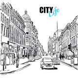 Sketch City Street. Black and white sketch city street with street view cars and buildings vector illustration vector illustration