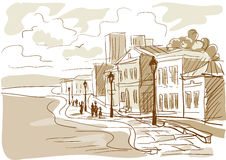 Sketch of a city street, boulevard Stock Photography