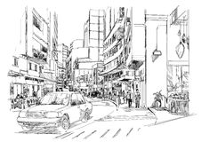 Sketch of city street,cityscape,Illustration Stock Images