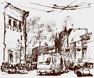 Sketch of a city street Stock Images