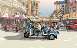 Sketch cityscape of Chiangmai, Thailand, show local motor tricycle Tuk on street, illustration vector stock illustration