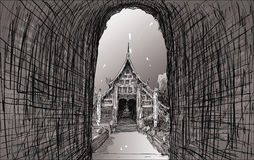Sketch cityscape of Chiangmai, Thailand, show local temple Wat L. Okmolee, illustration Royalty Free Stock Photos
