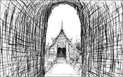 Sketch cityscape of Chiangmai, Thailand, show local temple Wat L. Okmolee, illustration vector Stock Photos