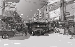 Sketch cityscape of Chiangmai, Thailand, show red car local tran Stock Photos