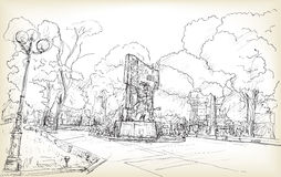 Sketch of cityscape Hanoi public space at Vuon hoa Hang Dau park. Free hand draw illustration vector Royalty Free Stock Images