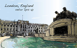 Sketch cityscape of London England, show public space, monuments. Sketch cityscape of London England, show Buckingham Palace public space, monuments fountain and Stock Photography