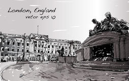 Sketch cityscape of London England, show public space, monuments. Sketch cityscape of London England, show Buckingham Palace public space, monuments fountain and Stock Images