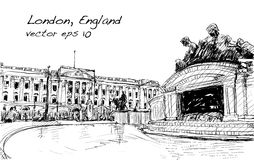 Sketch cityscape of London England, show public space, monuments. Sketch cityscape of London England, show Buckingham Palace public space, monuments fountain and Royalty Free Stock Images