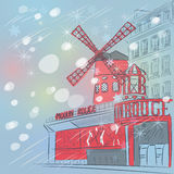 Sketch of cityscape with Moulin Rouge in Paris Stock Photo